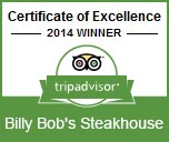 Certificate of Excellence - Billy Bob's Steakhouse