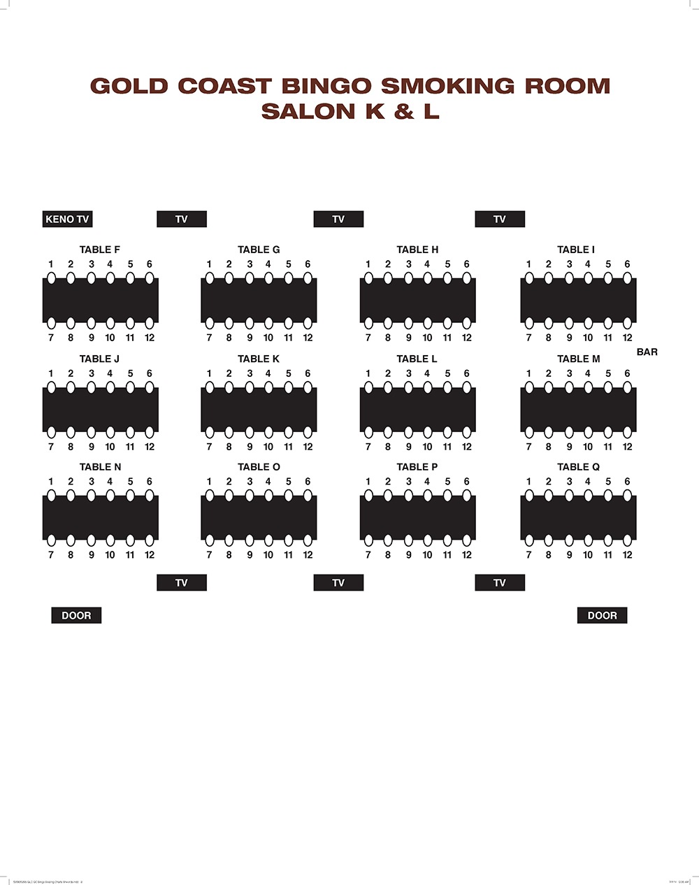 Seating Chart for Non-Smoking Room