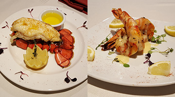 Pair Lobster Tail or Shrimp Scampi With Prime Rib