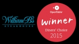 William B's wins Open Table Diner's Choice award 2015